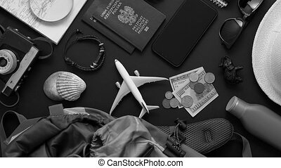 Travel and Tourist concept. Vacation and travel accessories ...