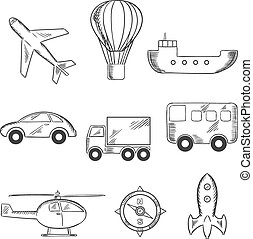 Travel and transport sketch icons