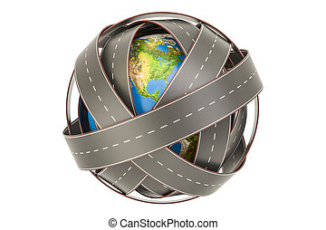 Travel and transportation around world concept, 3D rendering