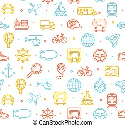 Travel and Transportation Background Pattern. Vector