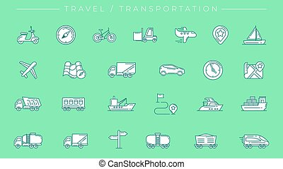 Travel and Transportation concept line style vector icons set