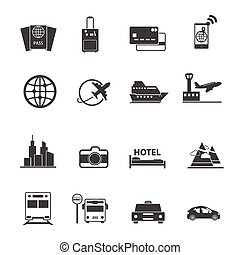 Travel and transportation icons set
