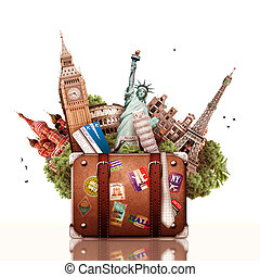 A collage on the theme of travel and tourism