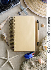 Travel and vacation accessories on sackcloth background, Summer concept with copy space