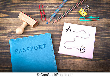 travel and vacation destination. blue passport covers on a wooden table