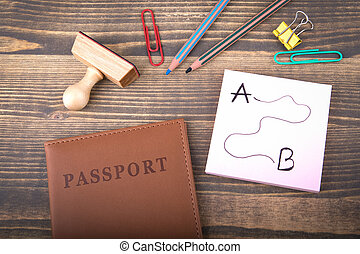 travel and vacation destination. brown passport covers on a wooden table