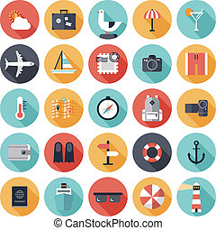 Travel and vacation flat icons set