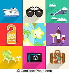 Travel and vacation icons set - Aloha shirt. Travel and...