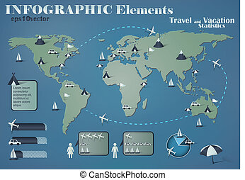 travel and vacation statistics - infographic elements for...