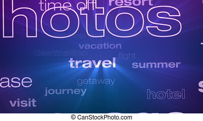 Travel and Vacation Words Loop - Seamless animation loop of...