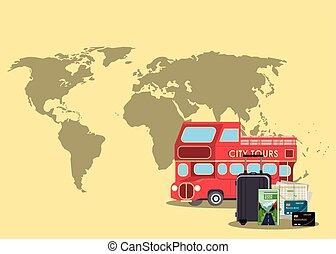 Travel and vacations cartoon scenery