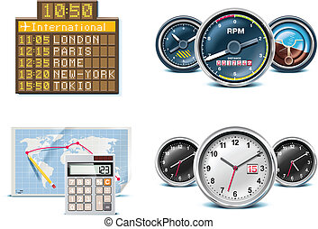 Set of icons representing air traveling and related objects