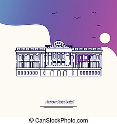 Travel ARIZONA STATE CAPITOL Poster Template. Purple...