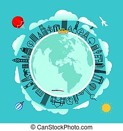 Travel around the Earth. Vector illustration