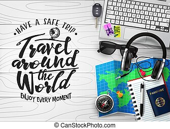 Travel Around the World 3D Realistic Banner Top View Travel Scene Generator in top