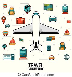 travel around the world. airplane vehicles transport luggage map money