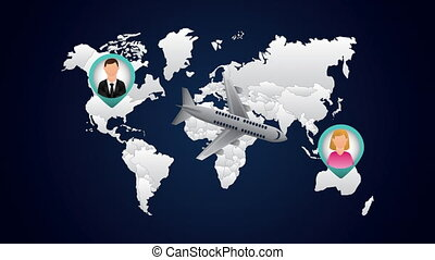 travel around the world animation with airplane flying