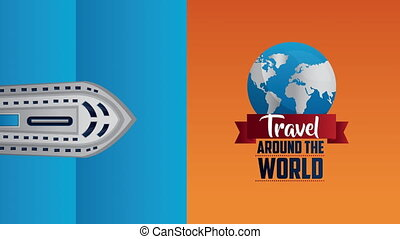 travel around the world animation with planet earth