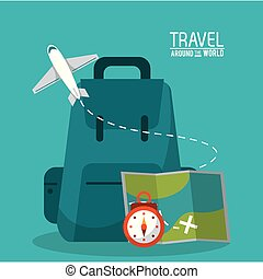 Travel the world map airplane backpack clipart vector search travel around the world backpack time map plane gumiabroncs Image collections