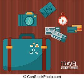 travel around the world. blue suitcase tickets credit card camera passport