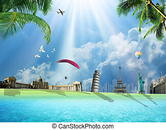 Travel around the world conceptual illustration with international landmarks