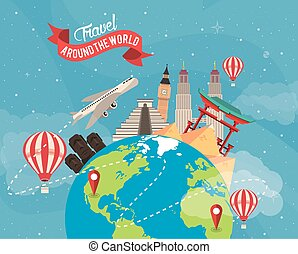 travel around the world design with earth planet