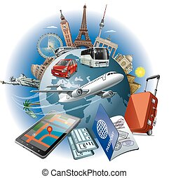 travel around the world - concept illustration of travel...