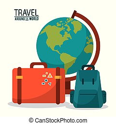travel around the world. globe map backpack suitcase luggage