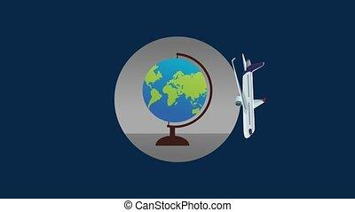 travel around the world HD animation - Airlane flying aroun...