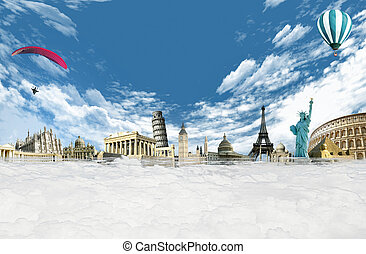 Travel around the world: illustration with monuments and landmarks among the clouds in the sky