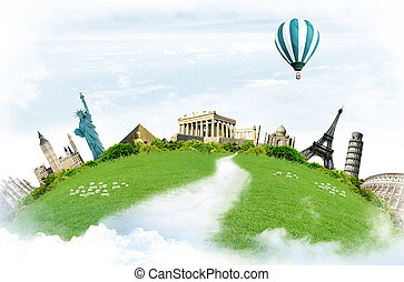 Travel around the world: landmarks with grassland in the blue sky with clouds i