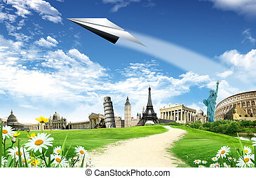 Travel around the world: landmarks with road and paper ...