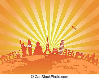 travel around the world on golden sunburst background -...