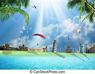 Travel around the world - Travel around the world conceptual...