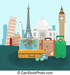Travel Around The World Poster Tourism And Vacation Earth Journey Global