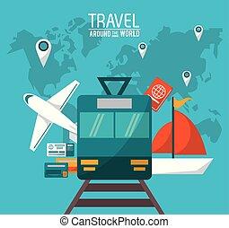 travel around the world. transport vehicles passport and pin map world