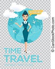Travel around the world vector brochure.