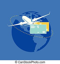 Travel around Word with Plane Flat Vector Concept