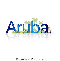 High Resolution graphic of the word Aruba on white background with reflection.