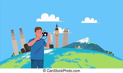 travel at monuments of the world and tourist photographer in...