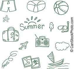 Travel at summer doodle vector