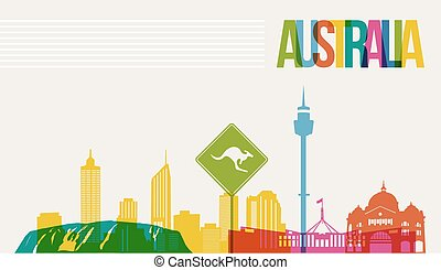 Travel Australia destination landmarks skyline background - ...