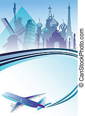 A vector illustration of air travel background