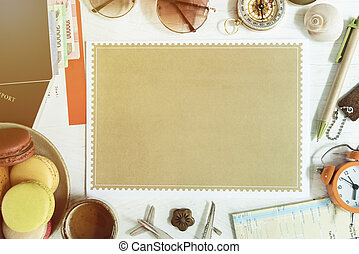 Travel background concept from free space brown paper put on table with accessories, passport, money, sunglasses, compass, pen, tag, clock, map, airplane model, tea cup and macaroons desert.