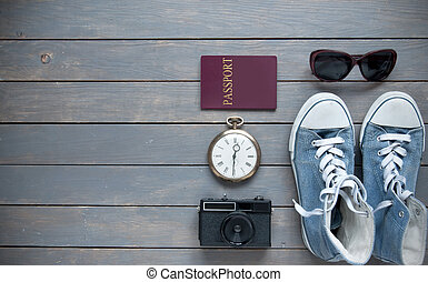 Travel background flat lay