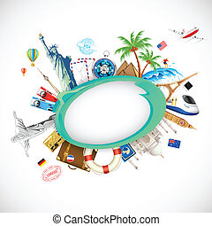 Travel Background - illustration of travel background with...