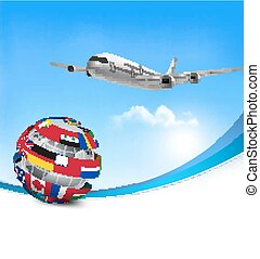 Travel background with an airplane and a globe made of flags. Vector