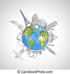 travel background with earth and landmarks