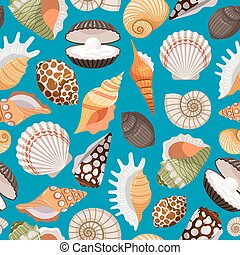 Travel background with sea shells - Sea travel and beach...