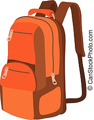 Travel backpack icon, cartoon style